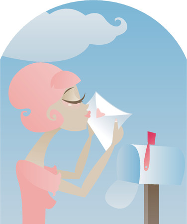 Retro style girl sealing a love letter with a kiss before putting it into the mailbox