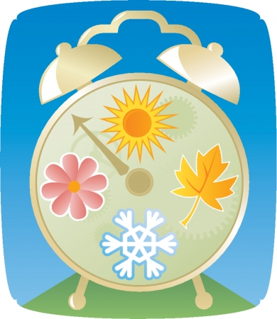 snow fall: Old-style bell alarm clock representing the four seasons - summer, winter, fall and spring Illustration