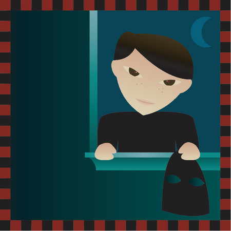 theif: Bad little boy breaking in to an unsuspecting homeowners window at night - holding a ski mask and up to no good Illustration