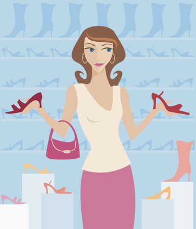 Woman shopping in a boutique, surrounded by cute shoes! Illustration