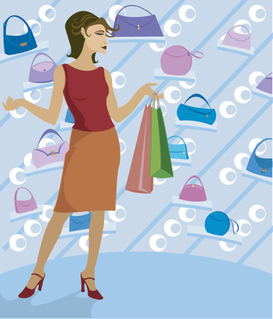 Woman shopping in a boutique, holding bags and surrounded by handbags