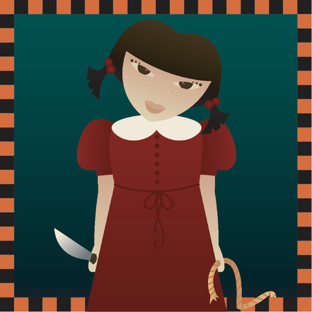 maul: Evil little girl with a knife and a rope, looking to terrorize someone - great for Halloween designs Illustration