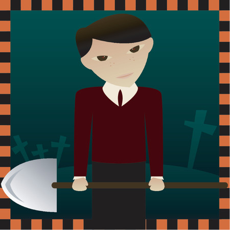 Evil little boy holding a shovel near an open grave, waiting to put you in it - great for Halloween designs