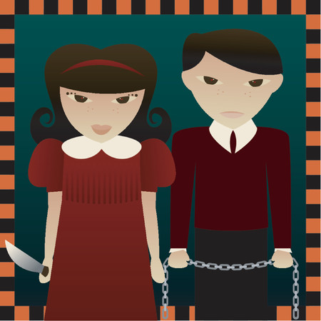 maul: Two evil little children in an orange and black border - Sarah holds a knife and Seth holds a chain - perfect for Halloween designs