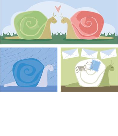 sorrowful: Cute, colorful snails in 3 scenes: Snails In Love, Sorrowful Snail and Snail Mail