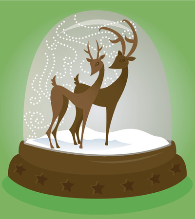Reindeer couple in a holiday snow globe - great for Christmas designs