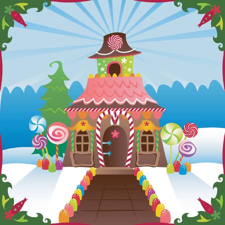 lebkuchen: Gingerbread House im Winter, verziert mit S��igkeiten ... gro�es Bild f�r Ferien  Illustration