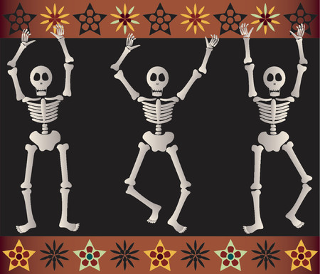 dia de los muertos: Three spooky skeletons jump and dance around - bordered by black and orange elements - great for Halloween or Dia de los Muertos