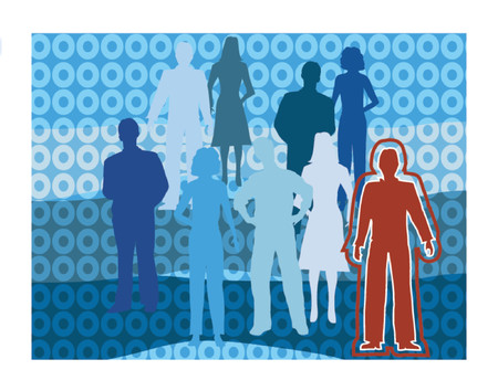 standing out: People in a group, one standing out in red Illustration