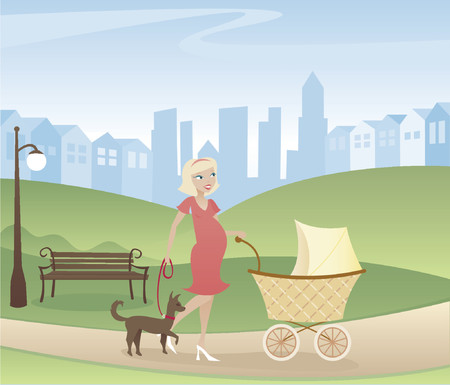 walking path: Mother with one on the way - taking a stroll through the park with stroller and dog - city and homes in the distance