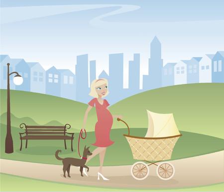 Mutter mit einem auf dem Weg - ein Spaziergang durch den Park mit Kinderwagen und Hund - Stadt und Häuser in der Ferne Standard-Bild - 607257