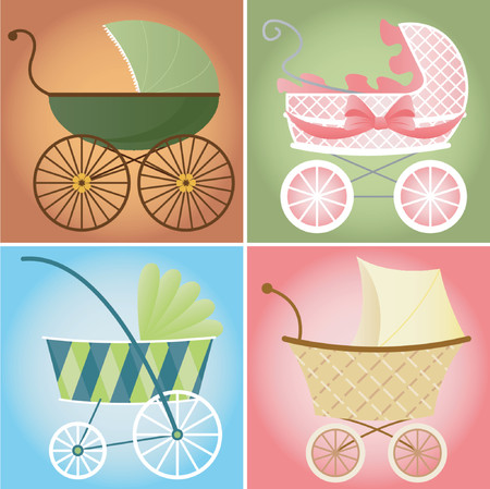 Four different  stroller styles for  boys and girls