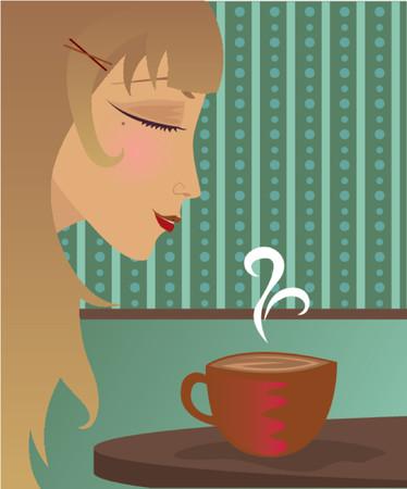 Woman enjoying a cup of coffee, hot cocoa or tea