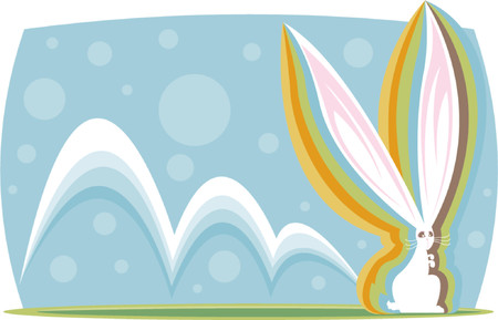 Colorful long-eared bunny hopping along - great for easter designs