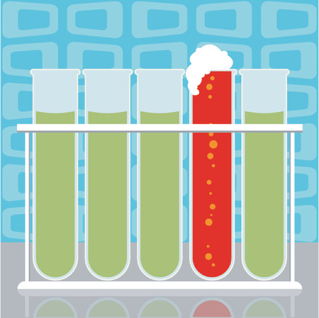 test result: Five scientific or medical test tubes, one turned red and foaming Illustration