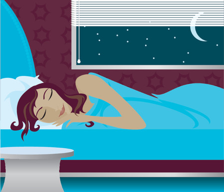 dormir habitaci�n: Mujer dormida en su cama por la noche, la luna y las estrellas fuera de la ventana  Vectores