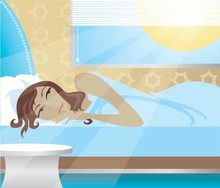 dormir habitaci�n: Mujer despertarse en la ma�ana, el sol brillando en el dormitorio