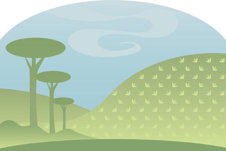 なだらかな丘と、空の淡いブルー、のどかな田園風景の作成に対する樹木