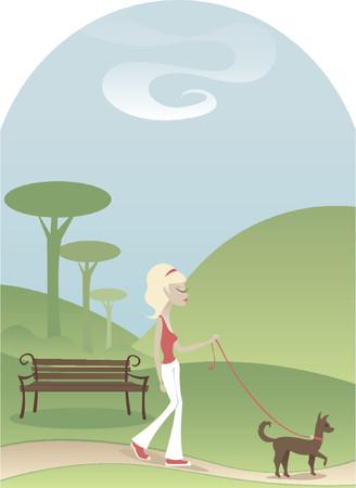 Femme prenant son chien pour une tranquille promenade dans un parc - soft arbres et les collines à l'arrière-plan  Banque d'images - 607243