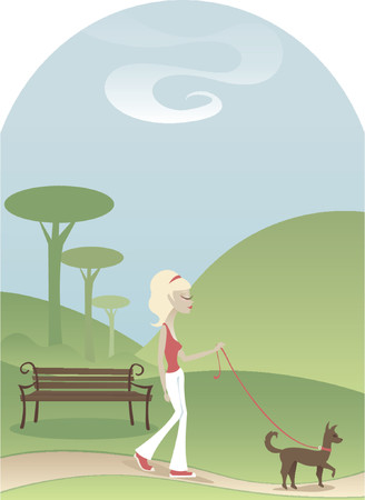 Woman taking her dog for a tranquil walk through a park - soft trees and hills in the background Illustration