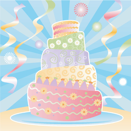 Five-tier birthday cake decorated in pastel swirls, stripes, polka-dots and flowers for the ultimate birthday celebration - colorful streamers and confetti in the background