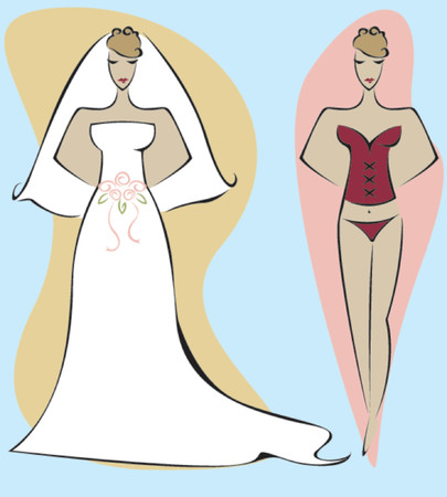 fiancee: Stylized woman dressed for her wedding day and her wedding night
