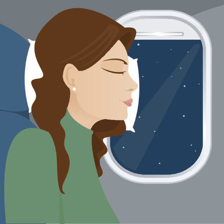 Woman leans against the airplane window, sleeping during flight Stock Illustratie