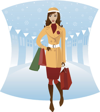 Stylish woman shopping downtown in the winter - possibly buying holiday gifts - in coat and hat - carrying bags Vector