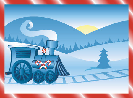 Holiday locomotive decorated in candycane stripes, running along tracks in the winter snow