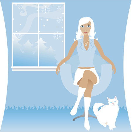 Stylish woman sits and enjoys a cool winter evening with her white cat - a scene of snow falling outside the widow Stock Vector - 607231