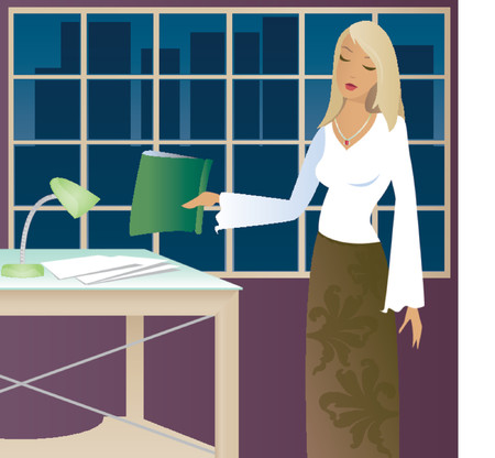 Woman working late in the office Vector
