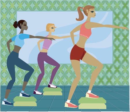 step fitness: Women in step aerobics class Illustration