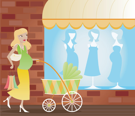 Mom-to-be shopping for  supplies, pushing a colorful carriage Illustration