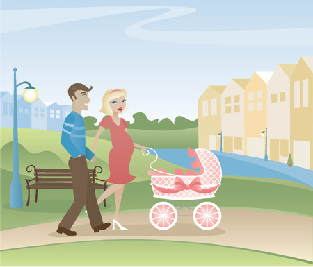 Parents with another one on the way - taking a stroll through the park