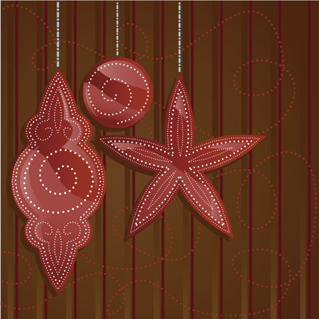 Holiday ornament shapes in shades of shiny red on a rich brown backdrop - decorated with dotted patterns in white Vector