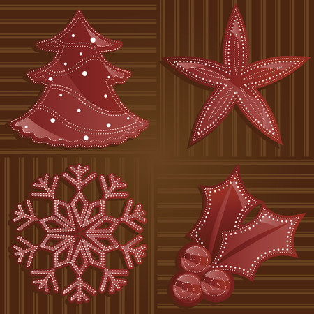 Holiday shapes in shades of shiny red on a rich brown backdrop, decorated with dotted patterns in white - includes a tree, star, snowflake and holly