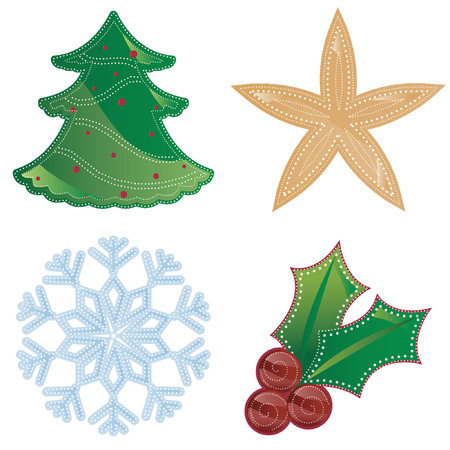 Colorful holiday shapes decorated with dotted patterns in white - includes a tree, star, snowflake and holly Ilustracja