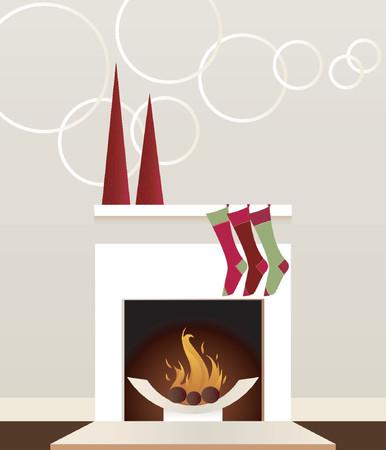 매끄럽고 현대적인 벽난로는 스타킹과 크리스마스 트리 장식으로 장식되었습니다. 일러스트