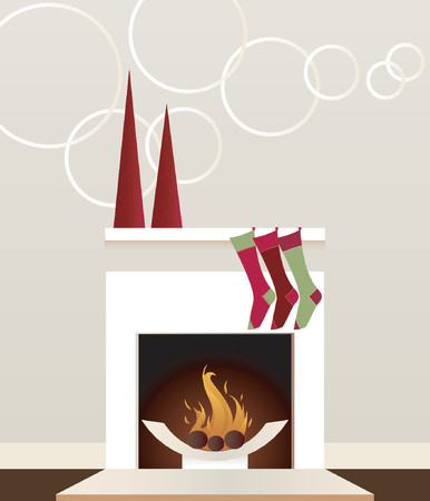 Sleek, modern fireplace decorated for the holidays with stockings and christmas trees