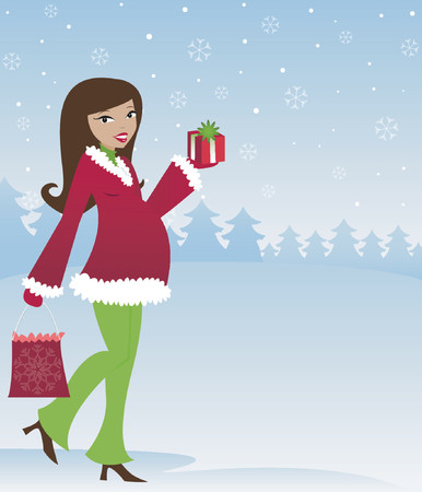 Mom-to-be in winter attire with holiday presents, snow falling in the sky