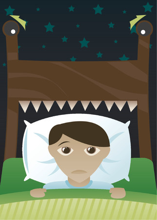 Little boy in bed, scared of the dark and imagining his bed's become a monster Vectores