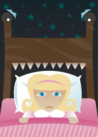 Little girl in bed, scared of the dark and imagining her beds become a monster Vector