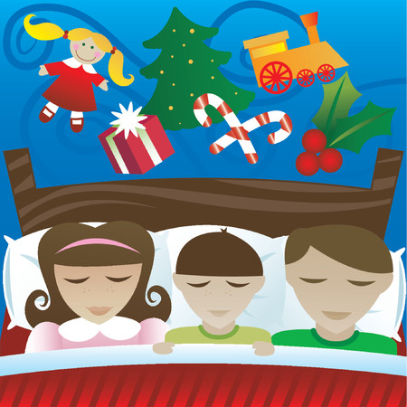Three kids sleep on Christmas night, dreaming of the candy and presents theyll find in the morning Vector
