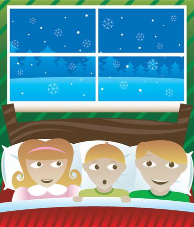 Drie kinderen wakker op kerstnacht, enthousiast en me af of het Santa zij horen buiten het venster Stock Illustratie