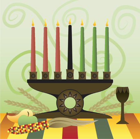 candleholder: Red, Green and Black candles in a Kwanzaa Kinara, representing the 7 principles of Unity, Self-determination, Work and Resposibilty, Cooperative Economics, Purpose, Creativity and Faith Illustration
