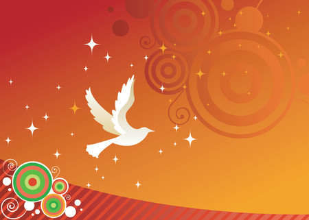 White dove flies across a red sky - as symbol for peace and a harmonious holiday season - stars, stripes and curly-cue elements in the background