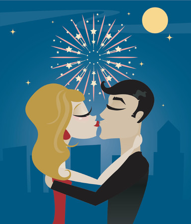 Couple kissing at midnight on New Year's Eve, with moon, stars and fireworks above the city