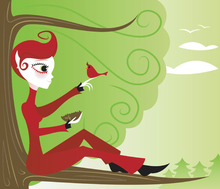 Girl sits with nature, high in a tree... wishes to be like the cardinal, wild and free Vector