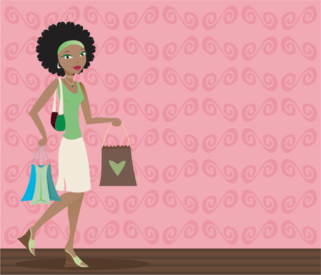 Stylish african-american woman with shopping bags in hand Vector