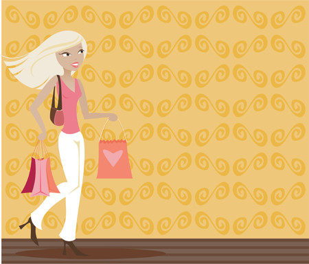 Stylish blonde with shopping bags in hand Vector
